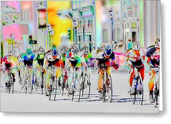 Silver City Greeting Cards - Cycling Down Main Street USA Greeting Card by Vicki Pelham