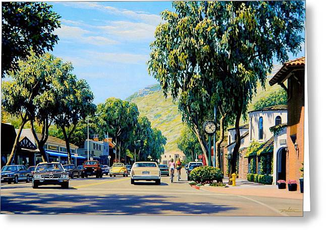 Vw Beetle Paintings Greeting Cards - Cycling on Forest in Laguna Greeting Card by Frank Dalton