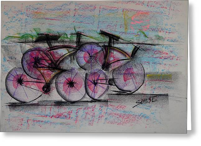 Planet Earth Pastels Greeting Cards - Cycling Sunset Greeting Card by Robert M Sassi