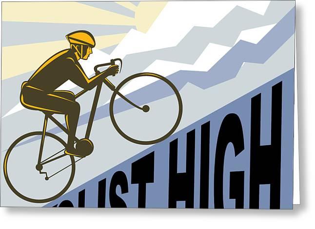 Cyclist racing bike Greeting Card by Aloysius Patrimonio