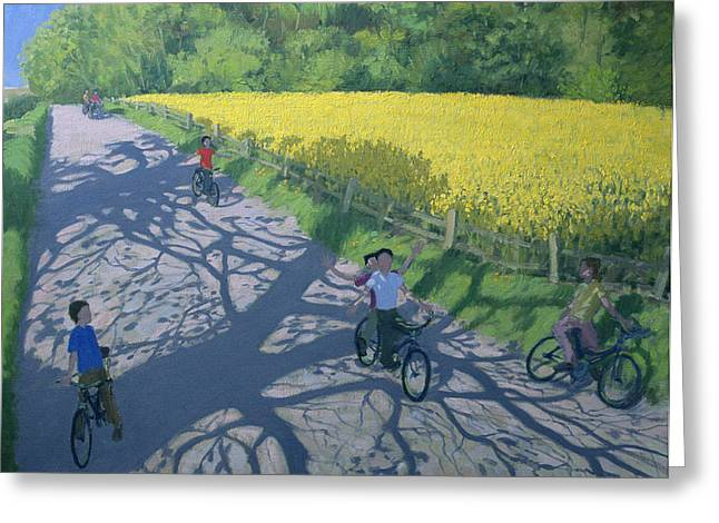 Flying Greeting Cards - Cyclists and Yellow Field Greeting Card by Andrew Macara