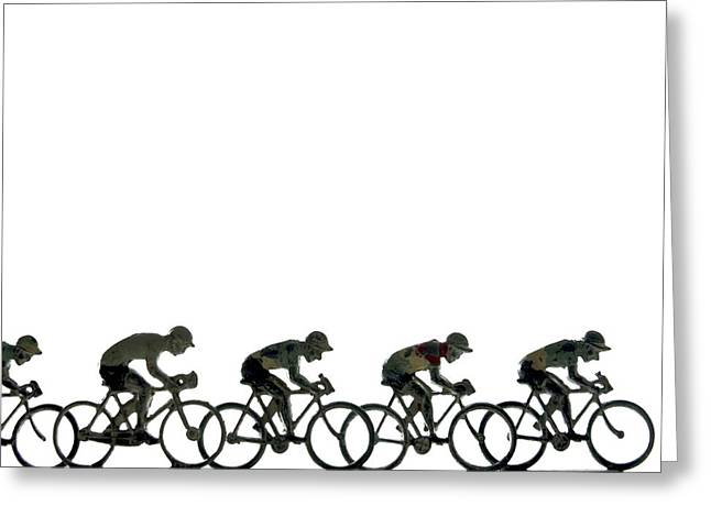 Cut-outs Greeting Cards - Cyclists Greeting Card by Bernard Jaubert