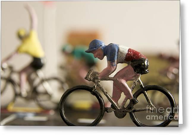 Cyclists. Figurines. Symbolic image Tour de France Greeting Card by BERNARD JAUBERT