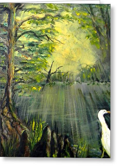 Sun Rays Paintings Greeting Cards - Cypress Morning Greeting Card by Christy Usilton