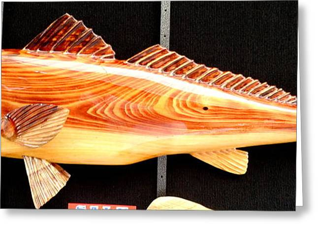 Fish Sculptures Greeting Cards - Cypress Red Fish Greeting Card by Douglas Snider