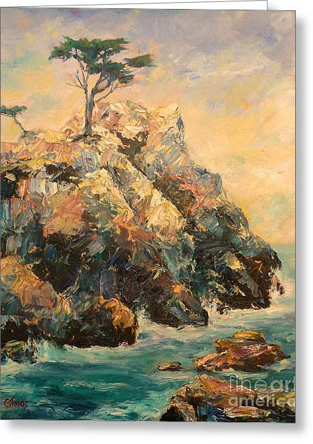 Big Sur Ca Greeting Cards - Cypress Tree Greeting Card by Carolyn Jarvis