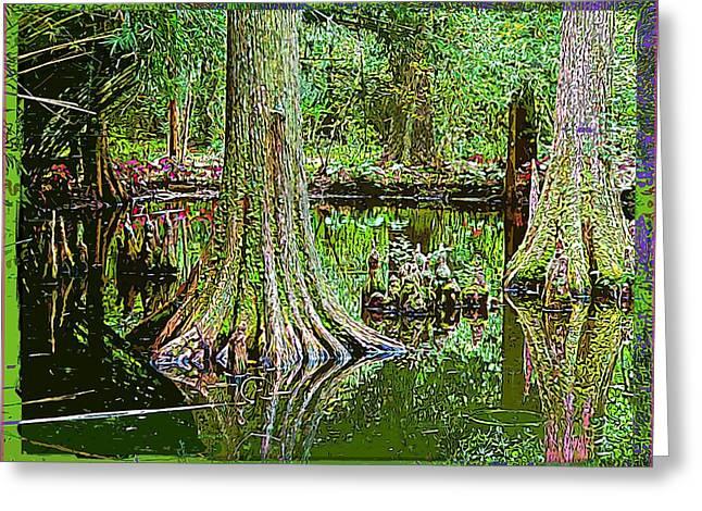 Cypress Tree Digital Art Greeting Cards - Cypress Trees Greeting Card by Mindy Newman