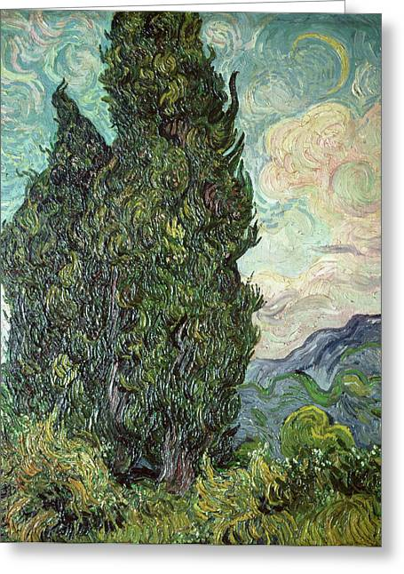 Crescent Greeting Cards - Cypresses Greeting Card by Vincent Van Gogh