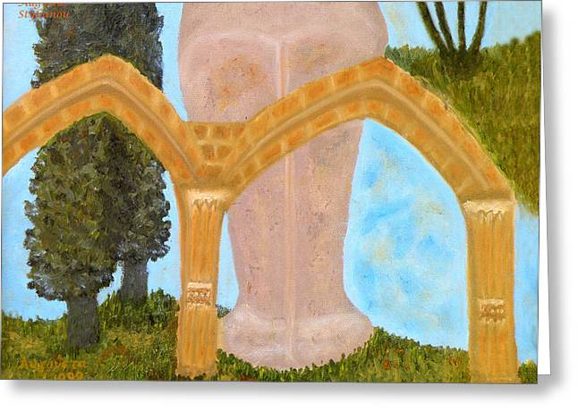 Byzantine Greeting Cards - Cyprus Abbey of Bellapais Greeting Card by Augusta Stylianou