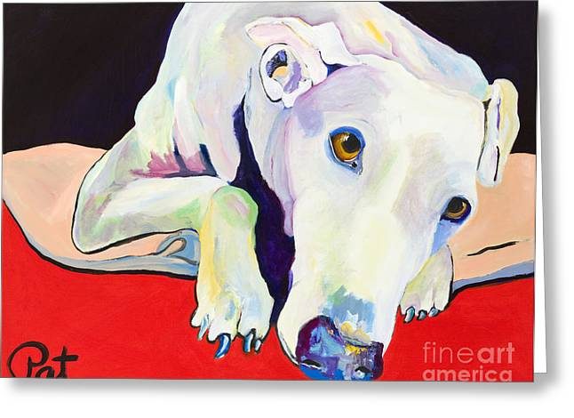 Rescued Greyhound Greeting Cards - Cyrus Greeting Card by Pat Saunders-White