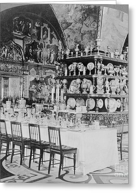 Dining Hall Greeting Cards - Czars Dining Hall In The Kremlin, 1919 Greeting Card by Photo Researchers