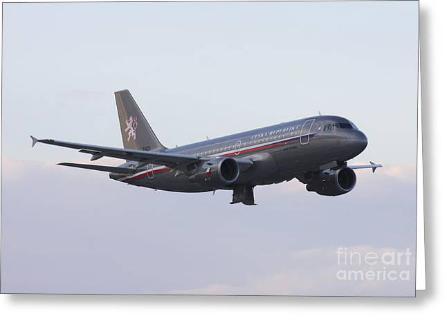 Hradec Greeting Cards - Czech Air Force Flagship Airbus A319 Greeting Card by Timm Ziegenthaler