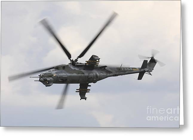 Hradec Greeting Cards - Czech Air Force Mi-24 Hind Helicopter Greeting Card by Timm Ziegenthaler