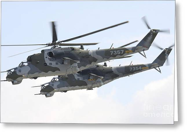 Hradec Greeting Cards - Czech Air Force Mi-24 Hind Helicopters Greeting Card by Timm Ziegenthaler