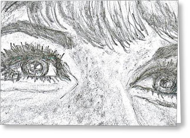 Famous Person Drawings Greeting Cards - D D Eyes Greeting Card by Carol Wisniewski