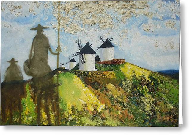 Last Supper Greeting Cards - D. Quixote de la Mancha e Sancho Greeting Card by Mario  Feijoca