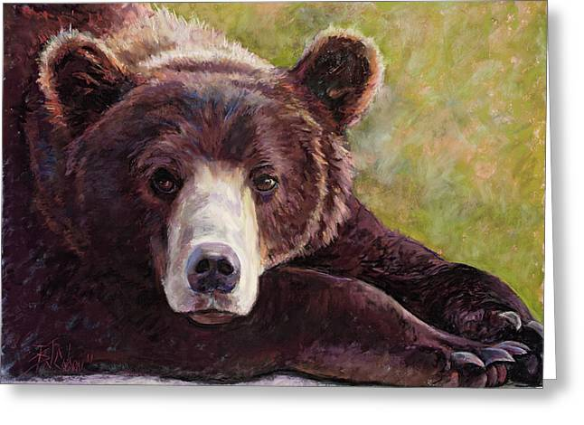 Rustic Cabin Greeting Cards - Da Bear Greeting Card by Billie Colson