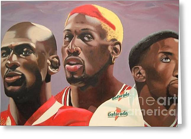 Pippen Paintings Greeting Cards - Da Bulls Greeting Card by Brandon Ramquist