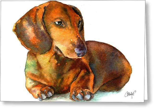 Dachshund Puppy Greeting Card by Christy  Freeman