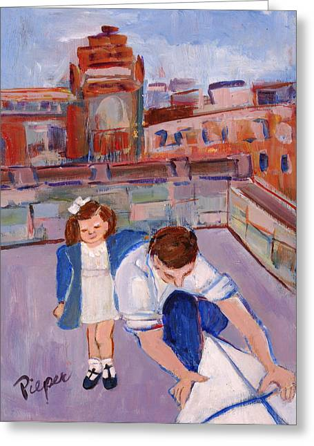 Dad And Me On Rooftop On Hoe Street Brooklyn Greeting Card by Elzbieta Zemaitis