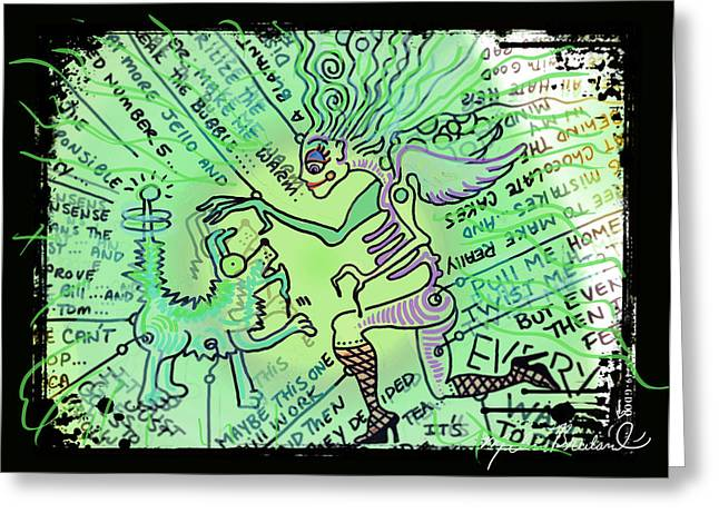Doodle Art Greeting Cards - Dada Doodle in Green Greeting Card by Melissa Wyatt