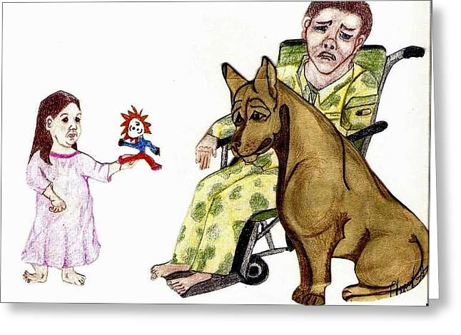 Child Soldier Drawings Greeting Cards - Daddy Please Take My Dolly Greeting Card by Cherylann Balboa Gray
