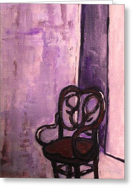 Empty Chairs Drawings Greeting Cards - Daddys Empty Chair Greeting Card by Helena Bebirian