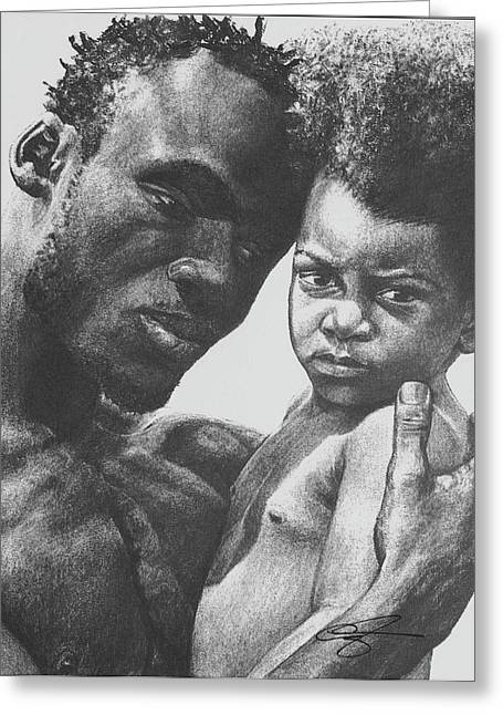 African American Drawings Greeting Cards - Daddys Home Greeting Card by Curtis James