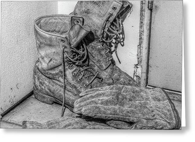 Work Boots Greeting Cards - Dads Boots Greeting Card by Randy Steele