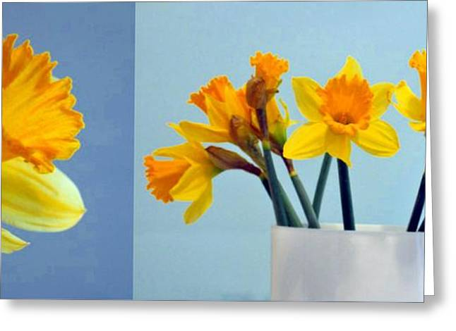Floral Digital Art Greeting Cards - Daffodils Greeting Card by Cathie Tyler