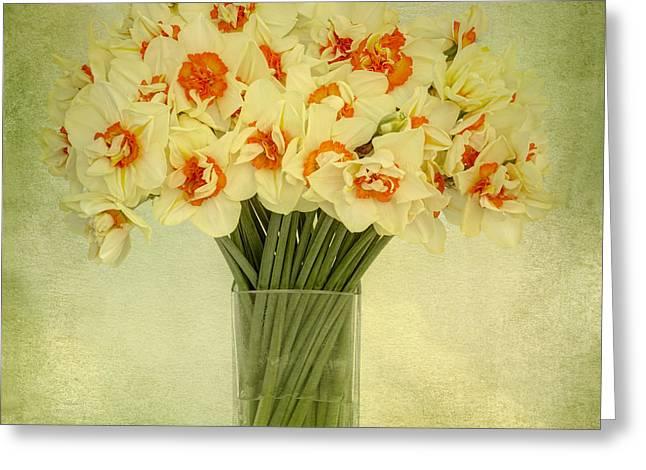 Spring Bulbs Digital Art Greeting Cards - Daffodils in a Glass Vase Greeting Card by Ann Garrett