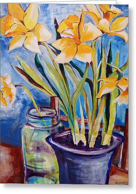 Suzanne Willis Greeting Cards - Daffodils Greeting Card by Suzanne Willis