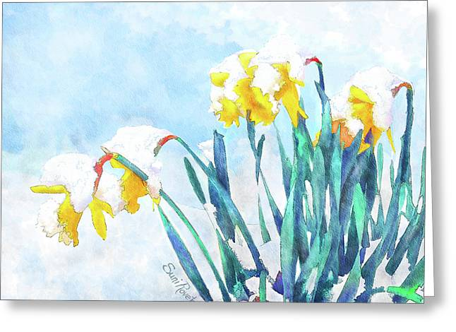 Watercolor Simulation Greeting Cards - Daffodils With Bad Timing Greeting Card by Suni Roveto