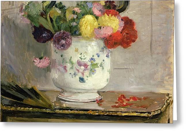 Dahlias Greeting Card by Berthe Morisot