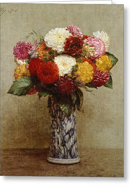 Dahlias Greeting Cards - Dahlias in a Chinese Vase Greeting Card by Ignace Henri Jean Fantin-Latour