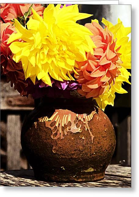 Daliha Greeting Cards - Dahlias in old vase Greeting Card by Emanuel Tanjala