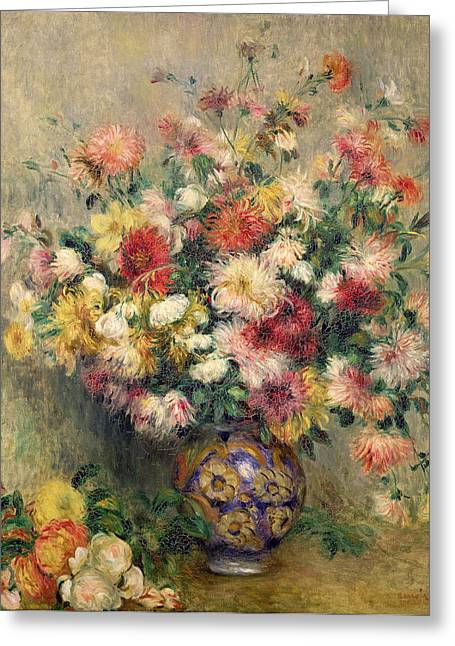 Dahlias Greeting Cards - Dahlias Greeting Card by Pierre Auguste Renoir