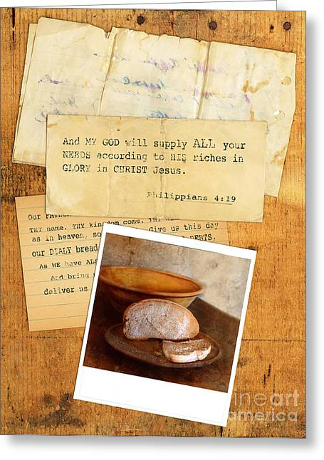 Scripture Verse Greeting Cards - Daily Bread Photo and Verse Greeting Card by Jill Battaglia