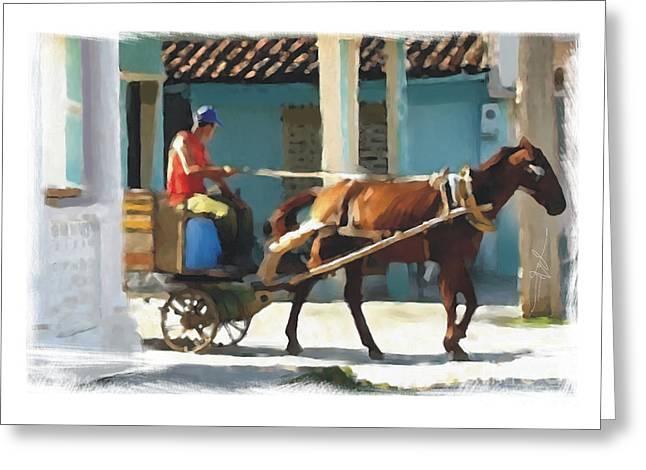 Horse Buggy Digital Art Greeting Cards - daily chores small town rural Cuba Greeting Card by Bob Salo