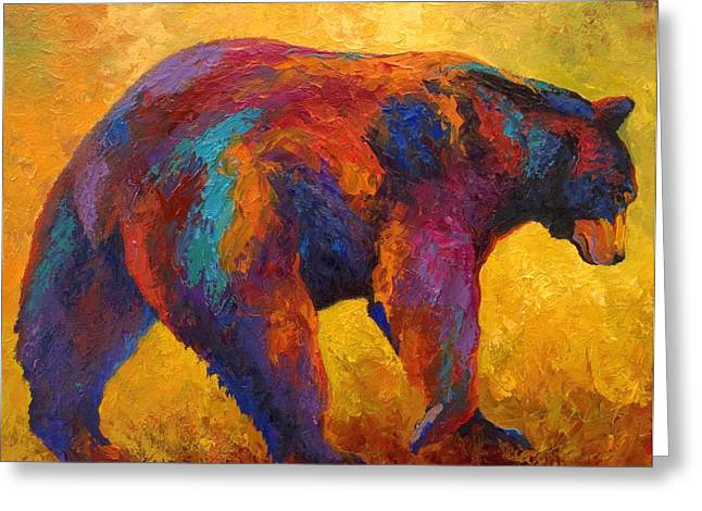 Wild West Greeting Cards - Daily Rounds - Black Bear Greeting Card by Marion Rose