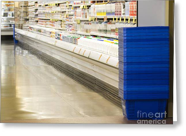 Grocery Store Greeting Cards - Dairy Aisle in a Grocery Store Greeting Card by David Buffington