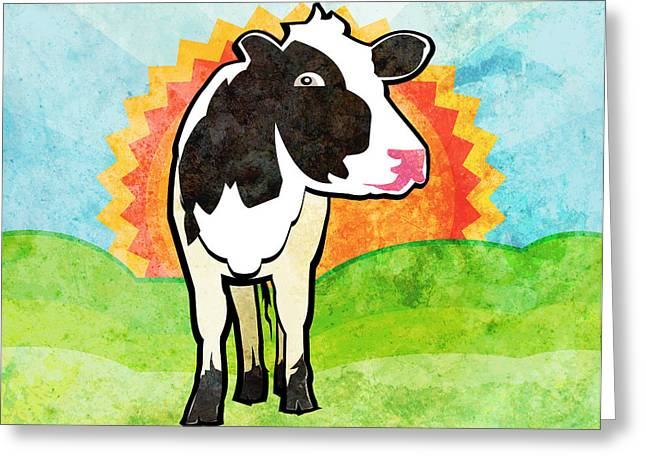 Ogling Greeting Cards - Dairy Cow Greeting Card by Mary Ogle
