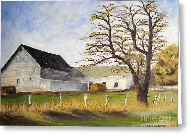 Maine Farms Paintings Greeting Cards - Dairy Farm Greeting Card by Jared Theberge