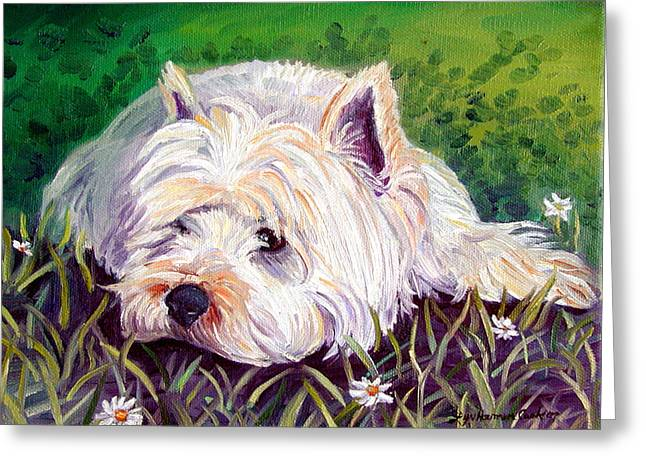 West Highland Greeting Cards - Daisies - West Highland White Terrier Greeting Card by Lyn Cook