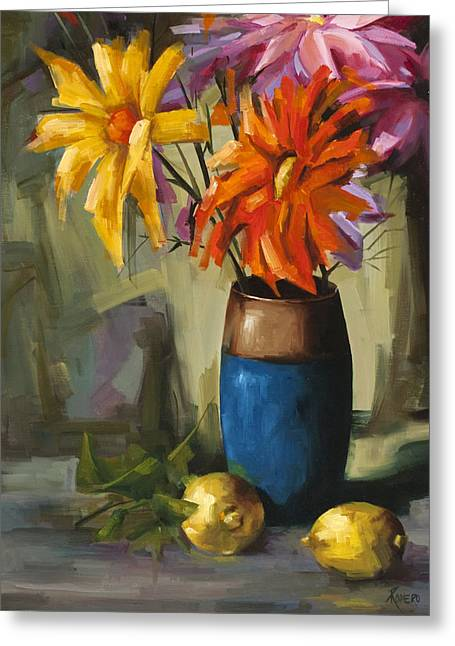 Naturaleza Muerta Greeting Cards - Daisies in Blue Vase Greeting Card by Pepe Romero