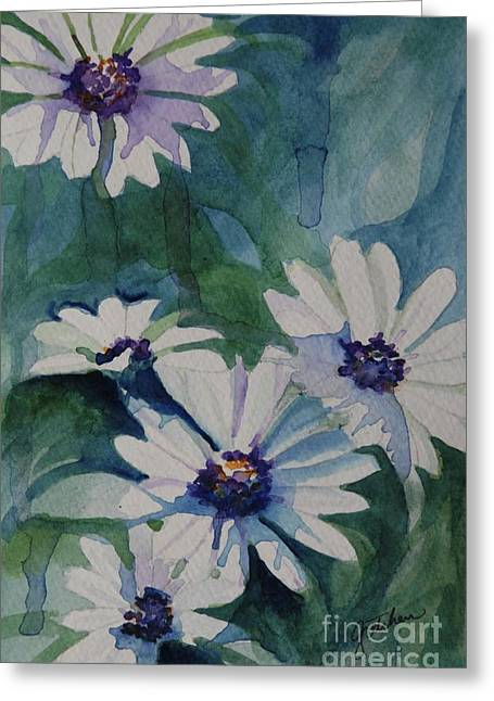 Drippy Paintings Greeting Cards - Daisies In The Blue Greeting Card by Gretchen Bjornson