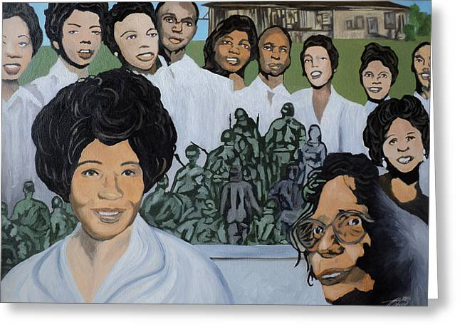 African American History Paintings Greeting Cards - Daisy Bates and the Little Rock Nine Tribute Greeting Card by Angelo Thomas