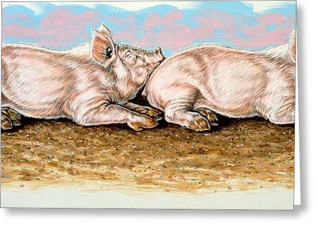 Piglets Greeting Cards - Daisy Chain Greeting Card by Richard De Wolfe