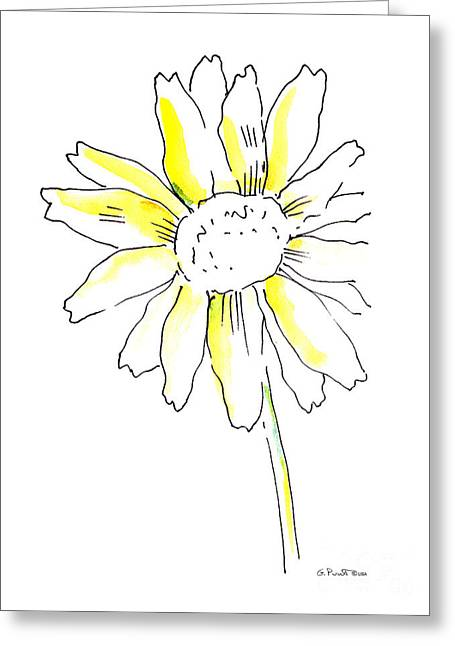 Roses Greeting Cards - Daisy Watercolor Painting 1 Greeting Card by Gordon Punt