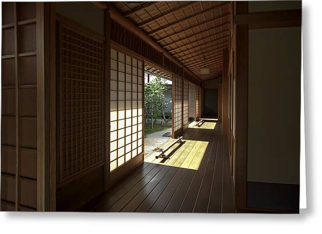 Shogun Photographs Greeting Cards - Daitoku-ji Zen Temple Veranda - Kyoto Japan Greeting Card by Daniel Hagerman